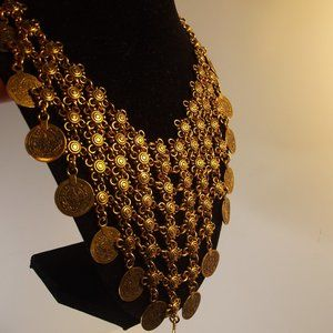 Bronze Tone Bib Necklace